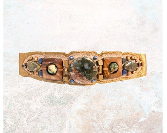 EMBELLISHED COLLAR : Jasper, Sodalite and Bronze Mother of Pearl on Taupe & Metallic Leather
