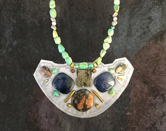SHIELD NECKLACE : Turquoise, Lapis, Jasper & Brass Studs on Light Grey Deerskin