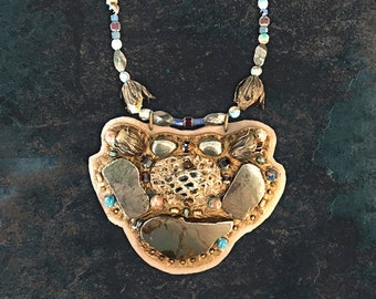 SHIELD NECKLACE : Pyrite, Jasper, Apatite & Sodalite on Taupe Deerskin Leather