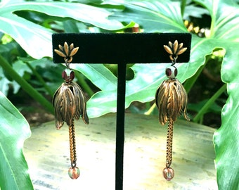 GILDED-MANE EARRINGS : Antique Brass Tulips & Colored Glass Beads