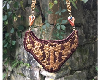 2D SHIELD NECKLACE : Antique Brass Filigree Breastplate on Brown Leather