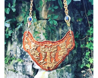 2D SHIELD NECKLACE : Antique Brass Filigree Breastplate on Cognac Leather