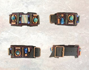 THE BOYFRIEND BRACELET : Jasper, Turquoise, Sodalite, Copper & Wood Beads on Brown Leather