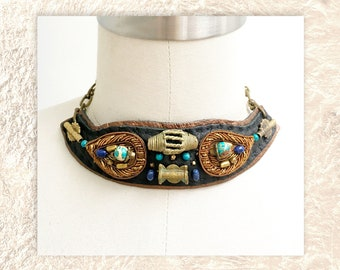 EMBELLISHED COLLAR : Zardozi Embroidery and African Brass Filigree on Black & Bronze Leather