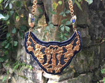 2D SHIELD NECKLACE : Antique Brass Filigree Breastplate on Navy Leather