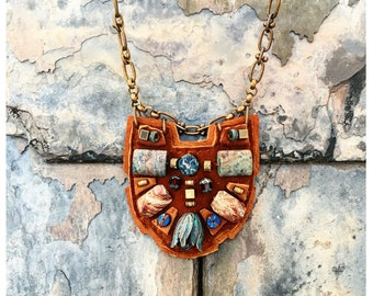 PETITE SHIELD NECKLACE : Oxidized Green Brass Tulip, African Turquoise & Lapis Lazuli on Cognac Suede