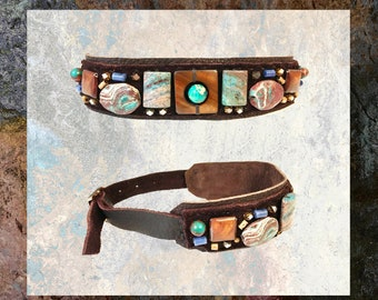 EMBELLISHED COLLAR : African Turquoise, Mother of Pearl, Sodalite & Brass Beads on Chocolate Leather