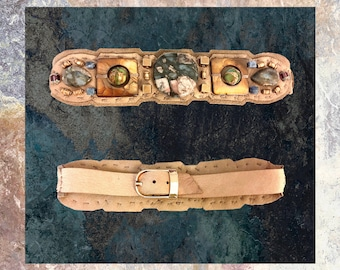 The EMBELLISHED COLLAR by Gilded-Mane: Jasper, Mother of Pearl, Pyrite and Turquoise Beads on Taupe Leather