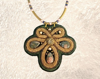 SHIELD NECKLACE : Bronze Metallic Zardozi Embroidery on Olive & Black Deerskin Leather