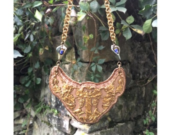 THE 2D SHIELD NECKLACE by Gilded-Mane : Vintage Antique Brass Floral Motif on Taupe and Rose Gold Deerskin Leather w/ Jasper Beads