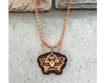 SHIELD PENDANT : Copper Filigree on Chocolate Deerskin