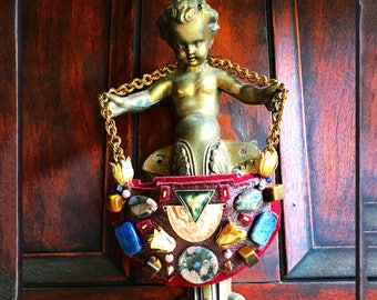 THE SHIELD NECKLACE by Gilded-Mane : Brass Tulips, Jasper Beads  & Metallic Trim on Burgundy Deerskin, Large