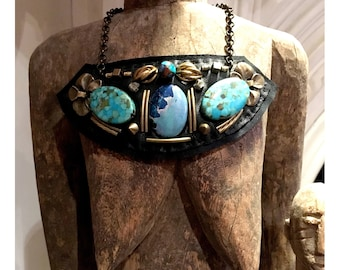 SHIELD NECKLACE : Turquoise & Jasper on Black Leather