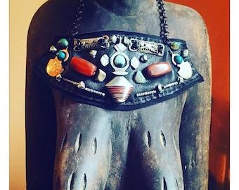 SHIELD NECKLACE : Ethiopian Cross, Turkish Ottoman Silver, Carnelian & Turquoise on Black Leather