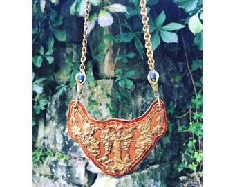 THE 2D SHIELD NECKLACE by Gilded-Mane : Vintage Antique Brass Floral Motif on Cognac Deerskin Leather w/ Jasper & Sodalite Beads