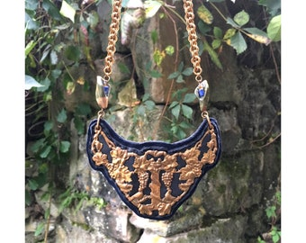 THE 2D SHIELD NECKLACE by Gilded-Mane : Vintage Antique Brass Floral Motif on Navy Leather w/ Jasper & Sodalite Beads