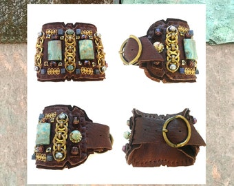 The CUFF BRACELET by Gilded-Mane: African Turquoise, Brass Chain Links & Sodalite Beads on Chocolate Leather