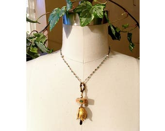 PENDANT NECKLACE : Brass Tulip w/ RARE Vintage Shark Vertebrae Disc Inlaid with Turquoise & Coral