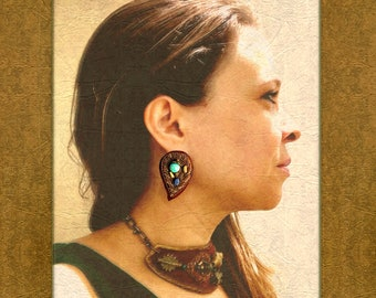 EARRINGS : Metallic Zardozi Embroidery with Jasper & Sodalite on Cognac Suede