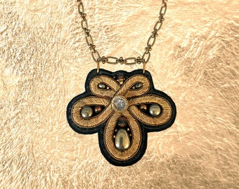 SHIELD NECKLACE : Bronze Metallic Zardozi Embroidery on Black Deerskin Leather