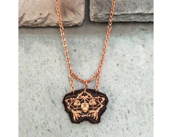 THE MINI 2D NECKLACE by Gilded-Mane : Copper & Chocolate Leather