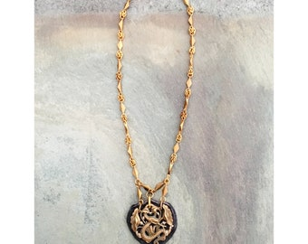 THE MINI 2D NECKLACE by Gilded-Mane : Antique Brass & Purple/Grey Leather