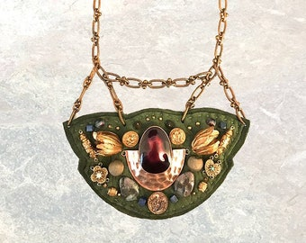 SHIELD NECKLACE : Raw Brass Tulips on Olive Deerskin Leather