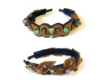 EMBROIDERED HEADBAND : Zardozi Embroidery w/ Turquoise and Fire Polished Glass Beads