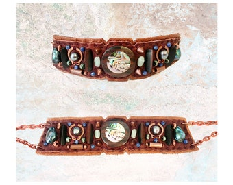EMBELLISHED COLLAR : Abalone Inlaid Wood, Freshwater Pearls, Sodalite & Copper Beads on Bronze Leather