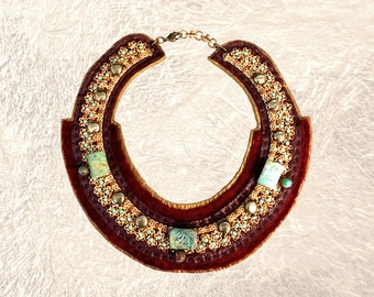EMBELLISHED COLLAR : Vintage Brass Necklace w/ Pyrite, Turquoise and Jasper on Plum & Bronze Leather