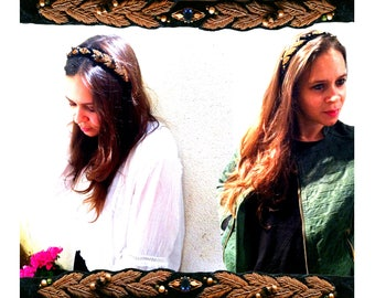 GILDED-MANE HEADBAND : Gold Leaf Trim w/ a Reclaimed Vintage Brooch
