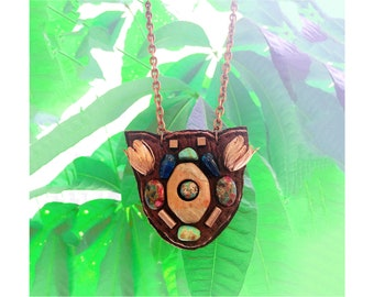 The MINI SHIELD NECKLACE by Gilded-Mane: Rose Gold Brass Tulips, Turquoise, and Copper Beads on Brown Leather