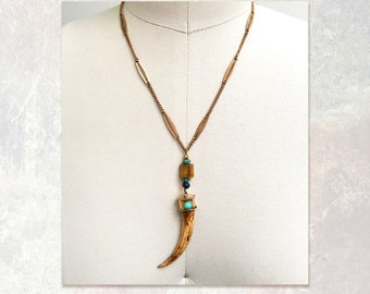 THIRD EYE PENDANT : Bone, Turquoise & Tiger Eye Pendant