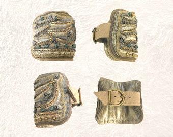 SHIELD BRACELET : Zardozi Embroidery on Warm Grey & Taupe Deerskin Leather