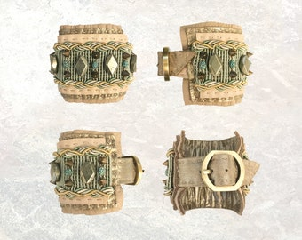 LEATHER CUFF : Pyrite, Brass Pyramid Studs & Oxidized Green Brass