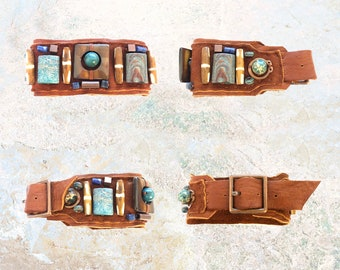 THE BOYFRIEND BRACELET : Turquoise, Jasper, Copper & Wood Beads on Cognac Suede
