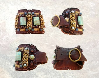 LEATHER CUFF : African Turquoise, Brass Chain & Freshwater Pearls on Chocolate Leather