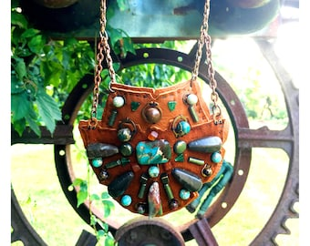 THE SHIELD NECKLACE by Gilded-Mane : Turquoise, Jasper and Pyrite Beads on Cognac Deerskin Leather