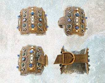 LEATHER CUFF : Turkish Ottoman Silver w/ Freshwater Pearls & Oxidized Green Brass