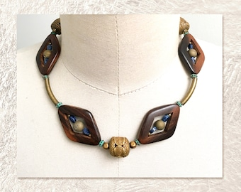 THIRD EYE NECKLACE : Wood, Agate, Tiger Eye & Turquoise