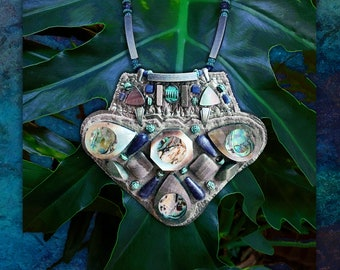 THE SHIELD NECKLACE by Gilded-Mane : Abalone Shell, Sodalite, and Green Brass on Grey & Metallic Leather