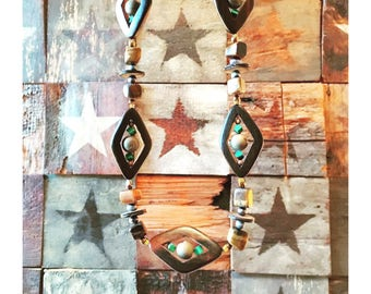 """GILDED-MANE : The """"Third-Eye Necklace"""" w/ Wood, Agate, Tiger Eye & Turquoise"""