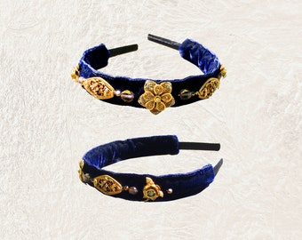 GILDED HEADBAND : Vintage Brass Filigree Flowers w/ Glass Beads