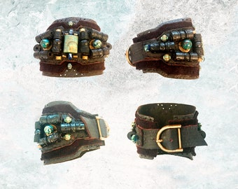 The MONSTER CUFF by Gilded-Mane: African Turquoise, Lapis, Wood & Brass Beads on Chocolate Deerskin Leather, UNISEX