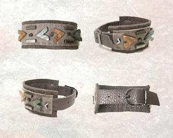THE BOYFRIEND BRACELET : Jasper & Pyrite on Grey Leather