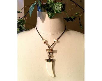 PENDANT NECKLACE  : Tooth Shaped Pendant w/ RARE Vintage Shark Vertebrae Disc Inlaid with Turquoise & Coral