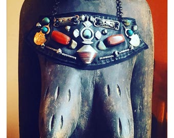 THE SHIELD NECKLACE by Gilded-Mane : Vintage African Pendant & Carnelian Beads on Black Leather