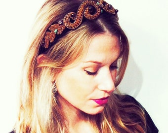 "GILDED MANE Gold Baroque ""Crown"" Headpiece w/ Turquoise and Multi-Colored Glass Beads"