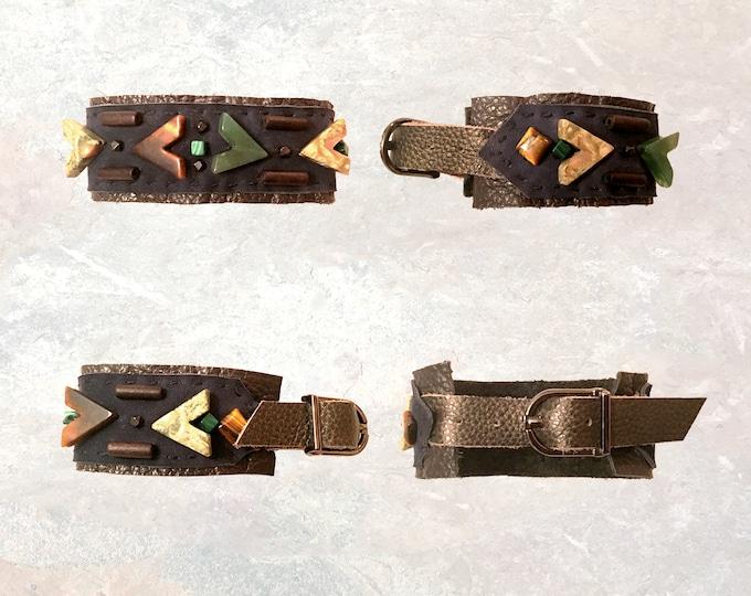 Featured listing image: THE BOYFRIEND BRACELET : Jasper, Tiger Eye, Malachite & Wood on Navy Leather
