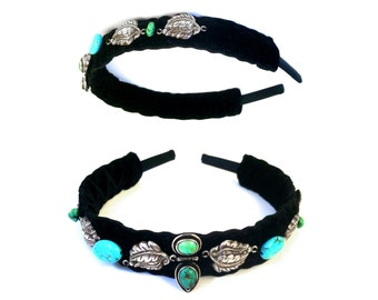JEWELED HEADBAND : Genuine Turquoise & Sterling Silver